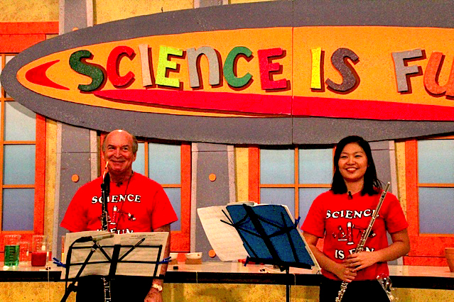"""Prof. Marc Fink and Hinano visit the lab for a musical interlude"" (www.scifun.org)"